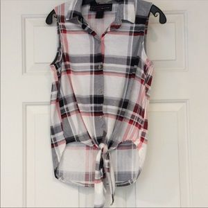 Polly & Esther Plaid Stretch Top Sleeveless SZ Med